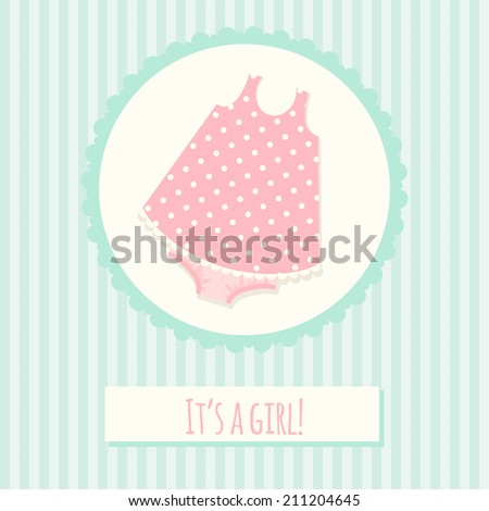 Baby shower invitation card template with dress - stock vector
