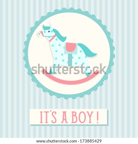 Baby shower invitation card template with rocking horse - stock vector