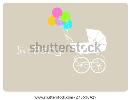 baby shower invitation card, vintage baby carriage and colorful balloons to announce the birth of a baby - stock vector