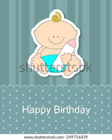 Baby Shower invitation card with baby - stock vector