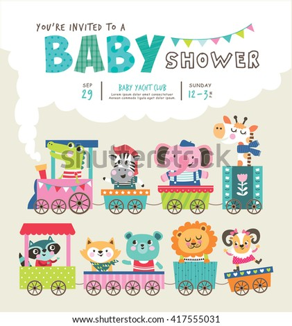 Baby shower invitation card with cute animals on train
