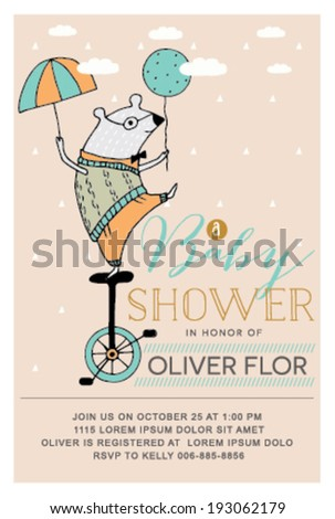 Baby Shower Invitation Card with Mouse in Vector - stock vector