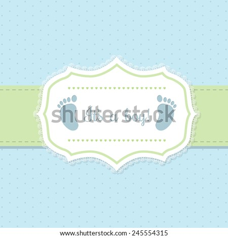 Baby shower invitation design in blue and green with footprints - stock vector