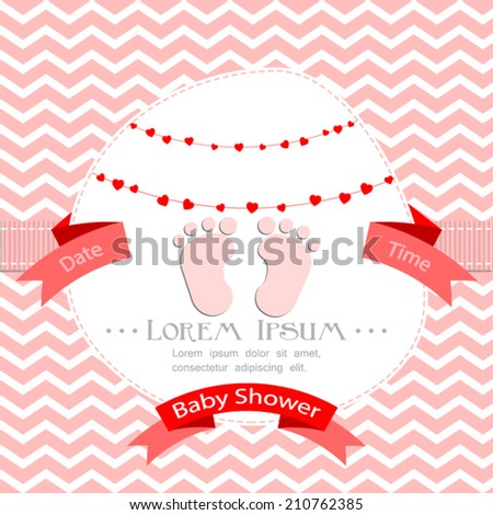 baby shower invitation for girl.Pink chevron background with footprint.Vector eps10,illustration. - stock vector