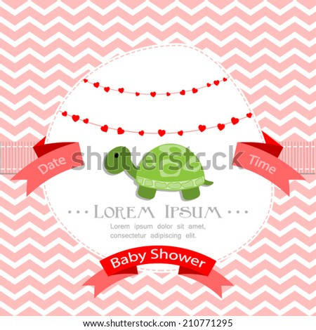 baby shower invitation for girl.Pink chevron background with turtle.Vector eps10,illustration. - stock vector