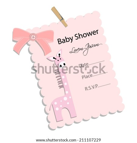 baby shower invitation for girl.Pink note with pink giraffe .Vector eps10,illustration. - stock vector