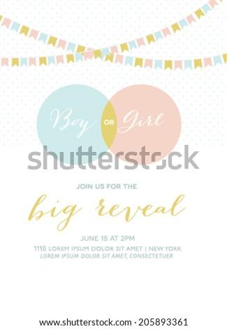 Baby Shower Invitation Gender Reveal Card  - stock vector