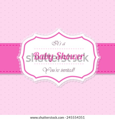 Baby shower invitation greeting card design in pink - stock vector
