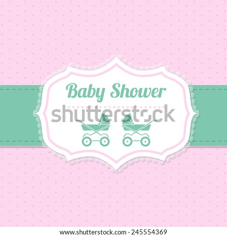 Baby shower invitation greeting card design in pink and green - stock vector