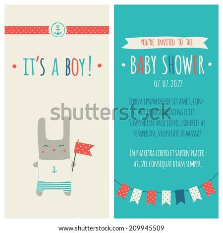 "Baby shower invitation ""It's a boy"". Marine style - stock vector"