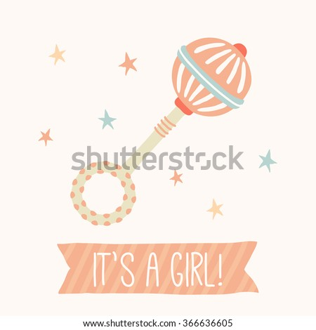 """Baby shower invitation """"It's a girl"""". Cute toy rattle. Kids First Toys. Baby shower design element. Cartoon vector hand drawn eps 10 illustration isolated on white background. - stock vector"""