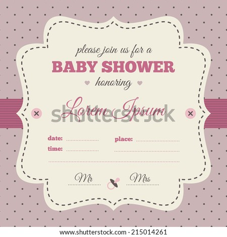 Baby shower invitation. Pink, cream and puce colors. Vintage frame with soother icon on a polka dot background.