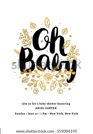 Baby Shower Invitation Template - stock vector