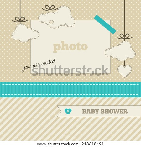 Baby shower invitation, template. Azure, beige and cream colors. Photo frame and decorative elements (clouds, heart) on a polka dot and striped background - stock vector