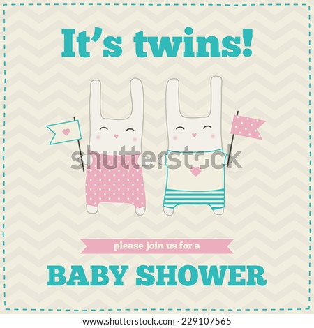 Baby shower invitation, template. Blue, pink, cream colors. Illustration of twins bunnies with flags. - stock vector
