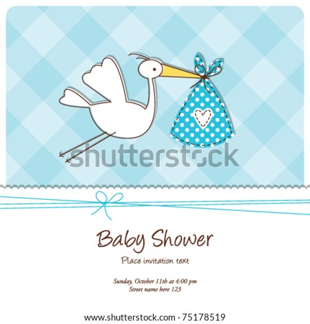 baby shower invitation template - cute baby card drawing Baby Boy arrival announcement card - stock vector