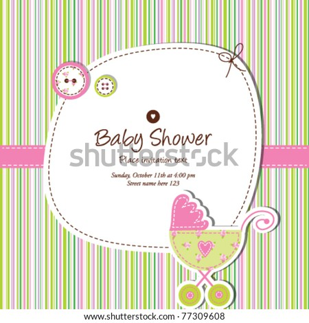 baby shower invitation template  Cute vector card - baby arrival  Unique Greeting card with stylish colorful stripe background Simple unique design for scrapbook projects, craft, baby shower card - stock vector