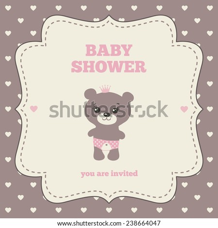 Baby Shower Invitation Template Pink Brown Stock Vector 238664047 ...