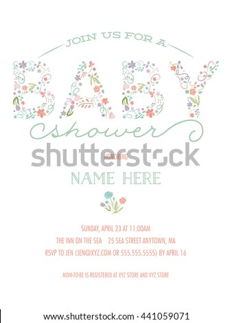 Baby Shower Invitation Template - Pretty Floral Design with Drawn Flowers - stock vector