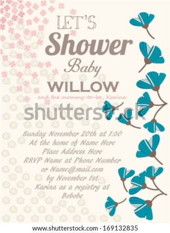 Baby Shower Invitation Template Tulips off-white ground