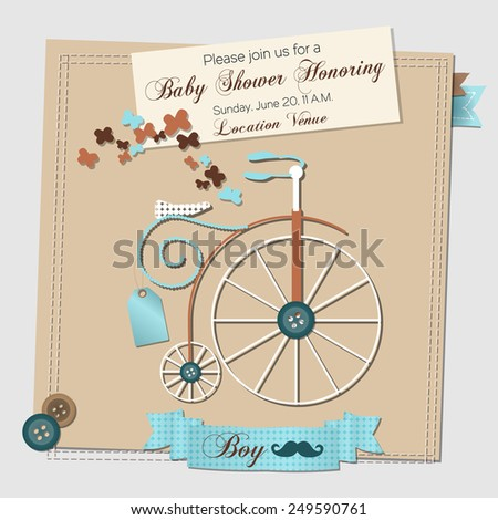 Baby shower invitation template vector illustration stock vector hd baby shower invitation template vector illustration with a vintage bicycle filmwisefo