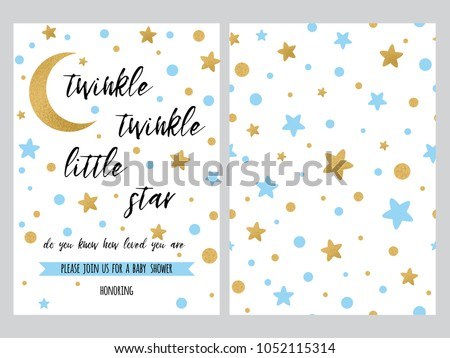 Baby shower invitation template sparkle gold stock vector hd baby shower invitation template with sparkle gold blue stars background gentle twinkle banner for stopboris Gallery