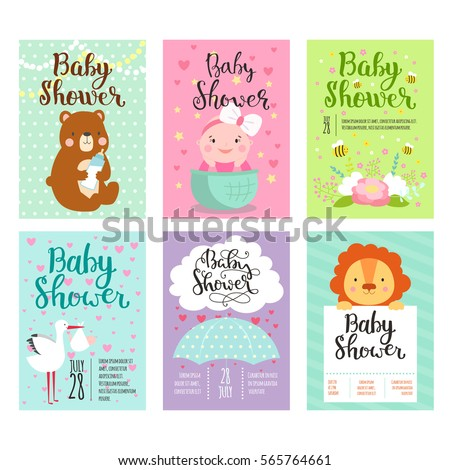 Baby Shower Invitation Vector Card Kids Stock Vector 2018