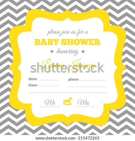 Baby shower invitation. White, gray and yellow colors. Vintage frame with rocking horse icon on a chevron background. - stock vector