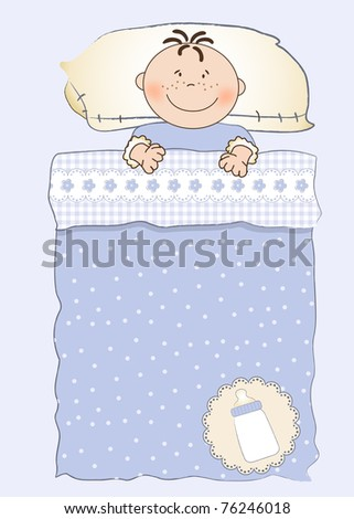 baby shower invitation with a child sleeping in his crib - stock vector