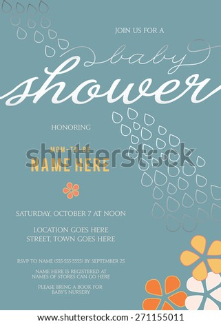 Baby Shower Invitation with Abstract Flowers and Silver Rain Drops Template - Vector