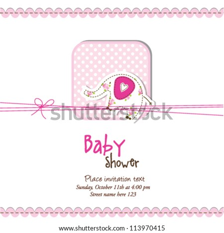 Baby shower invitation with copy space - stock vector
