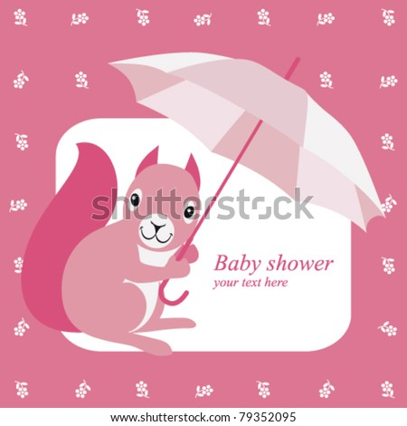 Baby shower invitation with pink squirrel and brolly