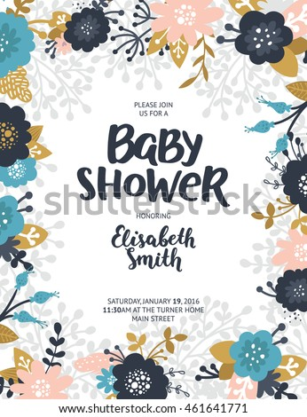 Baby shower invite vector template boho stock vector 461641771 baby shower invite vector template boho floral card with flowers feathers branches stopboris