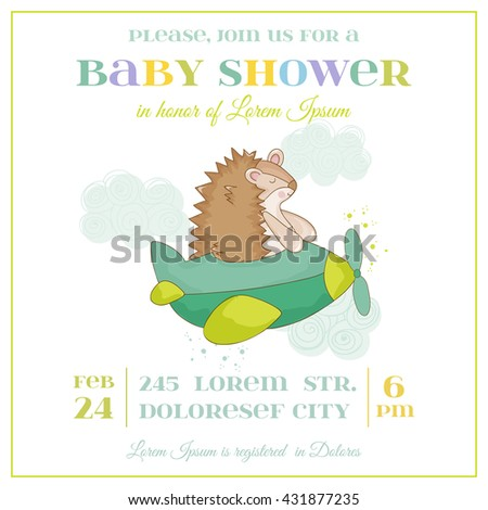 Baby Shower or Arrival Card - Baby Hedgehog in a Plane - in vector - stock vector