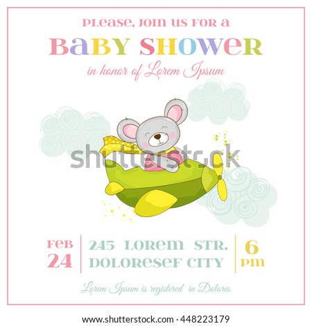 Baby Shower or Arrival Card - Baby Mouse Girl - in vector - stock vector