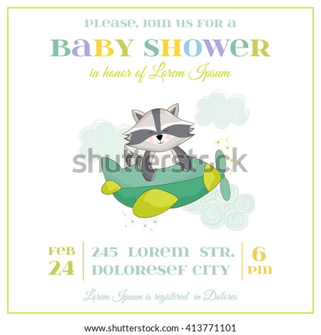 Baby Shower or Arrival Card - Baby Raccoon - in vector - stock vector