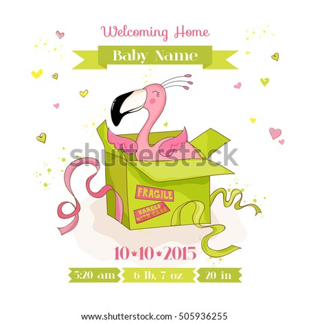 Baby Shower or Arrival Card. Cute Flamingo Girl in a Box, in vector