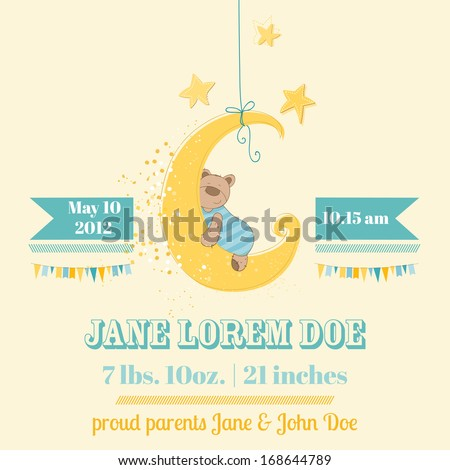 Baby Shower or Arrival Card - in vector - stock vector