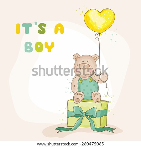 Baby Shower or Arrival Card - with Baby Bear - in vector - stock vector