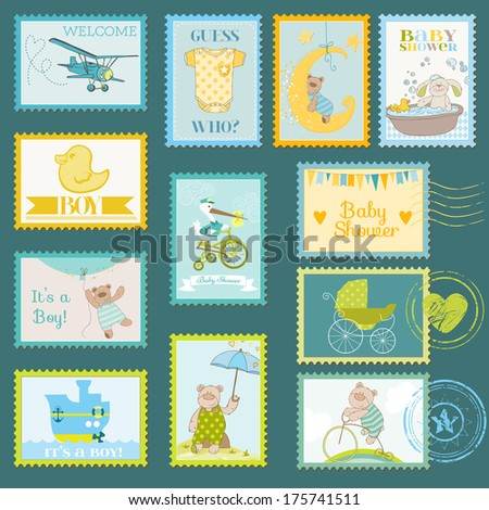 Baby Shower or Arrival Postage Stamps - for design and scrapbook - in vector - stock vector