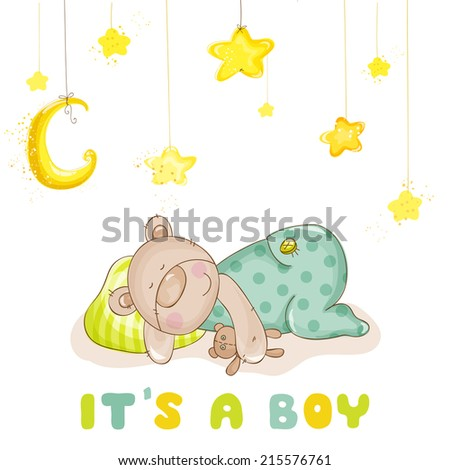 Baby Shower or Baby Arrival Cards - Sleeping Baby Bear and Stars- in vector - stock vector