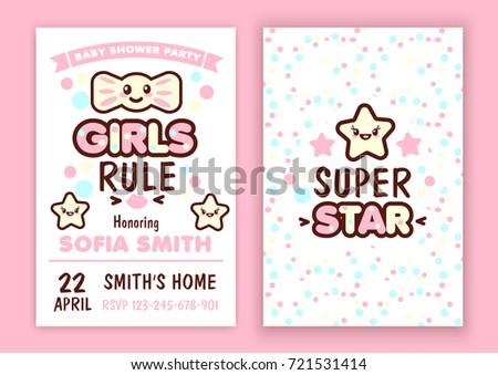 Baby shower party invitation kawaii style stock vector 2018 baby shower party invitation kawaii style stock vector 2018 721531414 shutterstock stopboris Choice Image
