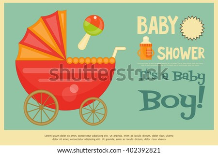 Baby Shower Poster. Baby carriage.  It's a Boy! Vector Illustration. Retro Style. - stock vector