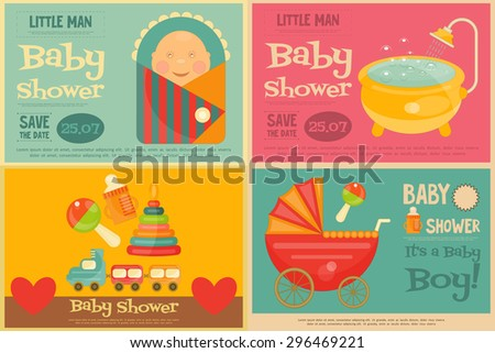 Baby Shower Posters Set. Vector Illustration.  - stock vector