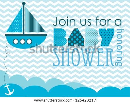 baby shower. sea design. vector illustration - stock vector