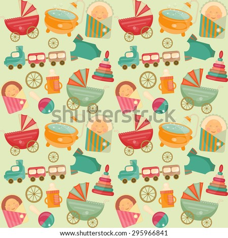 Baby Shower Seamless Background. It's a Boy! - stock vector