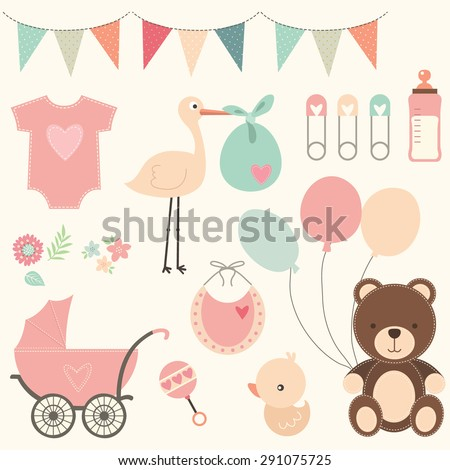 Baby Shower Set - stock vector