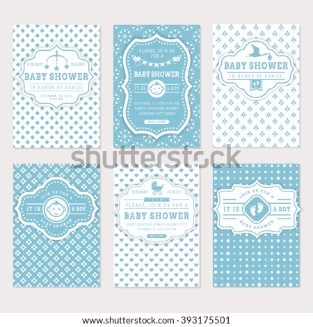 Baby shower set. Cute invitation cards for boy baby shower party. Vector collection on white and blue colors. - stock vector
