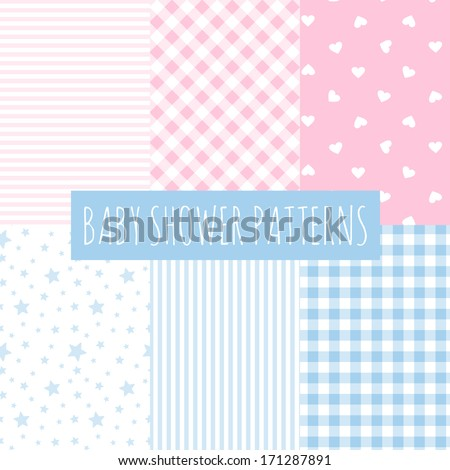 Baby shower: set of vector seamless backgrounds. Design for fabric and decor. - stock vector