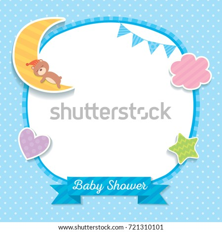 Baby Shower Template Design With Sleeping Bear On Moon Decorated With  Cloud, Heart, Star